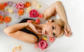 Picture look, girl, flowers, face, pose, mood, roses, the situation, hands, bath, Juliana Mizinova