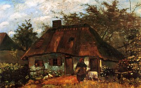 Picture grandma, hut, Vincent van Gogh, Cottage, and Woman with Goat
