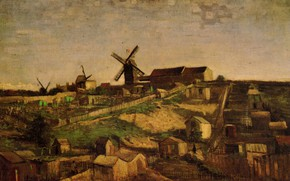 Picture mill, with Windmills, View of Montmartre, Vincent van Gogh, village