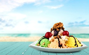 Picture balls, chocolate, ice cream, nuts