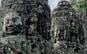 Picture Cambodia, buddha, Cambodia, stone heads, the ruins of the castle