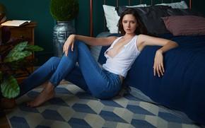 Picture look, pose, bed, carpet, jeans, on the floor, Sergey Fat, Disha Shemetova, Sergey Zhirnov, DISHA …