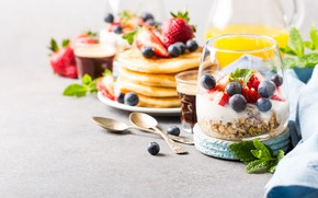 Picture glass, berries, Breakfast, juice, pancakes, muesli, orange, Iryna Melnyk
