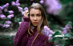 Picture look, girl, face, hand, portrait, sweater, bokeh, Alexander Kurennoy