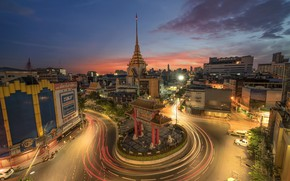 Picture road, the city, lights, building, ring, Thailand, Thailand, Bangkok