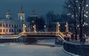 Picture winter, snow, trees, snowflakes, bridge, river, Saint Petersburg, Russia, night city, illumination, The Canal, Nikolsky …