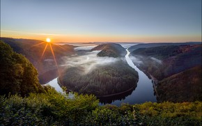 Picture forest, the sky, sunset, river, view, height, Germany, bending, George Sharp, Saar Loop Riverbend