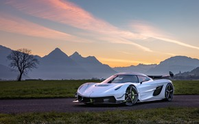 Picture the sky, mountains, lights, Koenigsegg, hypercar, Jesko