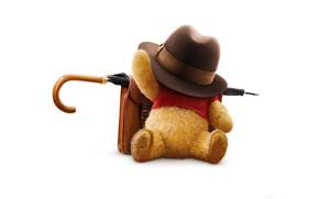 Wallpaper umbrella, cartoon, hat, bear, white background, bear, portfolio, plush, poster, Winnie the Pooh, Christopher Robin, ...