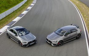 Picture car, machine, Mercedes-Benz, track, sedan, grey, sport car, Mercedes AMG, hatchback, A45 AMG, CLA 45 …
