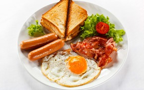 Picture Breakfast, Egg, Sausage, Bacon, Toast