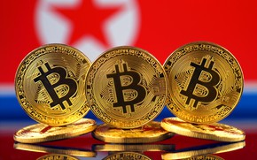 Picture blur, flag, coins, flag, North Korea, coins, bitcoin, btc, nort korean