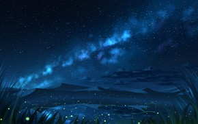 Picture sand, water, night, nature, fireflies, hills, the milky way
