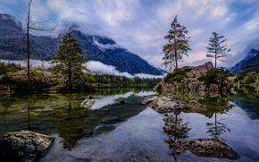 Picture forest, clouds, trees, mountains, lake, stones, Germany, Bayern, Hintersee