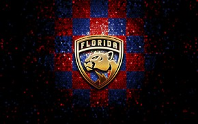 Picture wallpaper, sport, logo, NHL, hockey, glitter, checkered, Florida Panthers