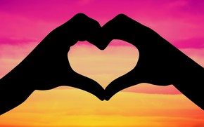 Picture love, heart, hands, silhouette, Valentine's day
