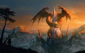 Picture fantasy, Dragon, tower, mountain, snow, castle, digital art, artwork, warrior, fantasy art, creature, shilouette