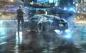 Picture Auto, Night, The city, People, Machine, City, Fantasy, Art, Night, Nissan 370Z, Cyberpunk, Benioff Mahdikhani, …