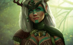 Picture girl, face, art, horns, Diadema, druid