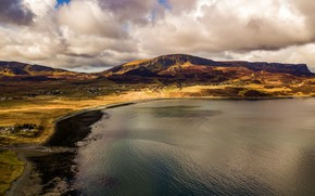 Picture the sky, clouds, landscape, mountains, nature, lake, hills, shore, the slopes, view, village, space, panorama, …