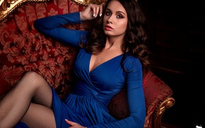 Picture look, pose, model, portrait, makeup, dress, hairstyle, brown hair, beauty, sitting, on the couch, blue, …