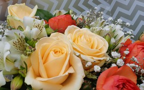 Picture Flowers, Bouquet, Red, Roses, Alstremeria, Peach