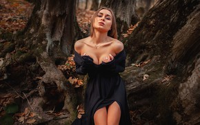 Picture autumn, forest, girl, trees, pose, dress, neckline, shoulders, Alexey Yuriev