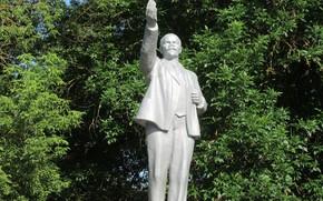 Picture trees, monument, statue, Lenin