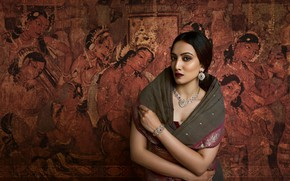 Picture girl, fashion, eyes, smile, figure, model, beauty, lips, face, hair, pose, indian, makeup, traditional, Jewelery