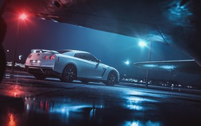 Picture White, The plane, Fighter, GTR, Japan, Nissan, Car, Night, White, Nissan GT-R, Nissan GTR, Fighter, …