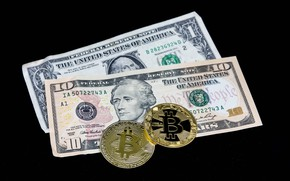 Picture money, coins, dollars, black background, bills, Bitcoin, bitcoin