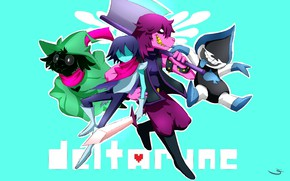 Picture the game, characters, turquoise background, Deltarune