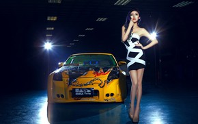 Picture look, Girls, Nissan, Asian, beautiful girl, yellow car, against the machine
