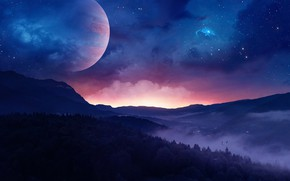 Picture The sky, Night, Stars, Forest, Planet, Dawn, Landscape, Fiction, Genes Raz von Edler, by Gene ...