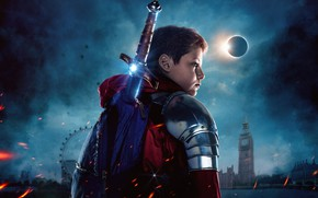Picture sword, armor, fantasy, adventure, poster, Tom Taylor, 2019, The Kid Who Would Be King, Born …