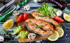 Picture greens, table, mushrooms, Board, food, fish, tomatoes, lemons, spices, submission, salmon, lettuce