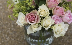 Picture flowers, roses, bouquet, vase, pink, white, a lot, different, bokeh