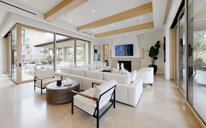 Picture Villa, interior, fireplace, terrace, living room