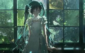 Picture bird, bows, vocaloid, Hatsune Miku, white dress, Vocaloid, window, Hatsune Miku, closed eyes