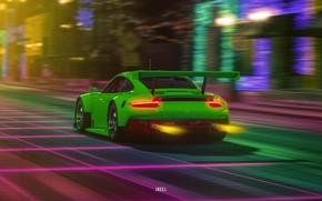 Picture Auto, Porsche, Machine, Porsche 911, Neon, Synth, Gran Turismo Sport, Retrowave, Synthwave, Porsche 911 RSR, …