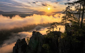 Picture the sun, clouds, landscape, mountains, nature, dawn, morning, Межин Сергей