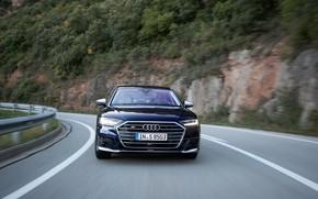 Picture blue, Audi, sedan, front, Audi A8, Audi S8, on the road, 2020, 2019, V8 Biturbo