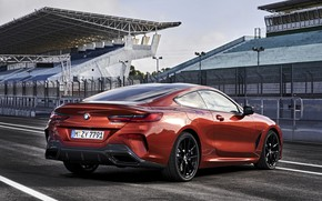 Picture coupe, BMW, Coupe, 2018, 8-Series, dark orange, M850i xDrive, Eight, G15, near the road