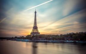 Picture the sky, bridge, river, France, Paris