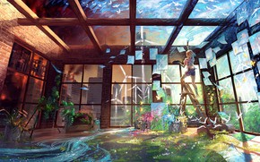 Picture birds, stream, room, wall, paint, plants, the ceiling, artist, ladder, fantasy world, by Yuumei