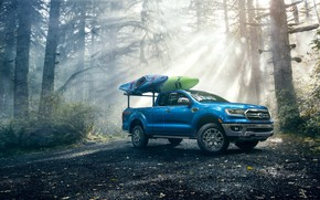 Picture Ford, Blue, Ranger, Lariat, SuperCab, Forest, Boat, Canoe, FX4