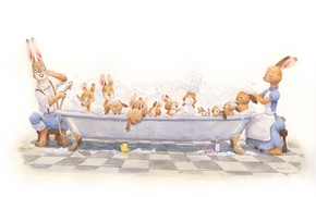 Picture family, bath, rabbits