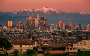 Picture sunset, mountains, home, panorama, USA, Los Angeles