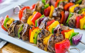 Picture meat, pepper, vegetables, kebab