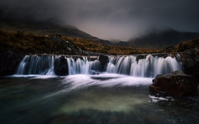 Picture autumn, the sky, water, mountains, nature, fog, stones, overcast, hills, vegetation, for, waterfall, stream, twilight, …